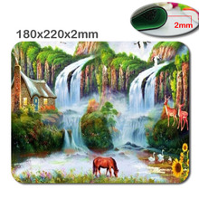 220x180x2mm Wholesale  Print Non-slip Durable Beautiful Waterfalls In Woods Rubber Soft gaming mouse Cool Games black mouse pad