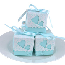 100pcs Love Heart Small Laser Cut Gift Candy Boxes Wedding Party Favor Candy Bags With Ribbon Decor 5x5x5cm