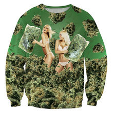 Sexy Fashion Sweatshirt 3D Weed Bikini Girls 420 Pillow Fight Printed Funny Pullover Long Sleeve Men Crewneck Hoodies