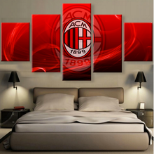 5 Panel Canvas Printed Serie A AC Milan Club Painting For Living Picture Wall Art Decor Modern Artwork Football Sports Poster