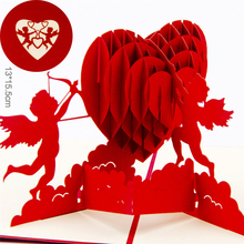 3D Greeting Cards Thank You Card Handmade Pop Up Heart Shape Paper Cut Valentines Mother's Day Christmas Gift Card V5546(China)