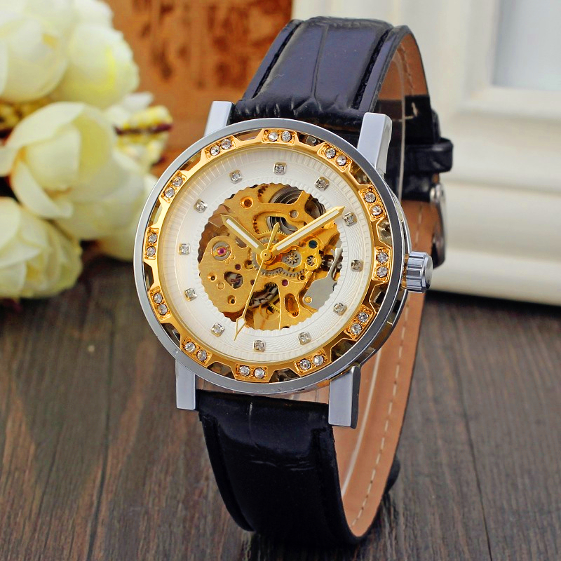Fashion FORSINING Men Brand Casual Skeleton Leather Self Wind Watch Automatic Mechanical Wristwatches Gift Box Relogio Releges<br><br>Aliexpress