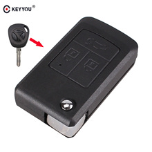 KEYYOU 3 Button Modify Flip Folding Remote Car Key Replacement Case FOB Shell For LADA