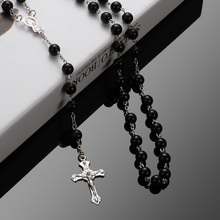 Hot Sale Vintage Rosary Beads Cross Jesus Necklace Crucifix Virgin Mary Pendant Chain Necklace Jewelry(China)