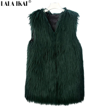 Winter Thinken Women Long Hair Faux Fur Vest Solid Color White Black Green Gray Pink Beige Wine Red Femme Fur Coats SWE0111-45(China)