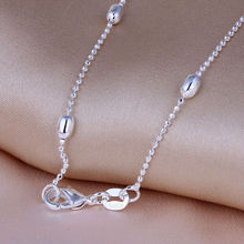 "silver plated beads chain wholesale engagement gift party vintage jewelry accessories for women cheap 16"" - 30"" necklace chain"