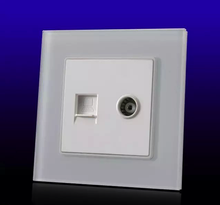Drop Shipping supported , EU Computer Socket, PC socket,Internet socket, with TV socket White Crystal Glass Panel,