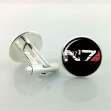 1 pair Free Shipping Mass Effect Cufflinks N7 Cufflinks For Mens Cufflinks High Quality Brand(China)
