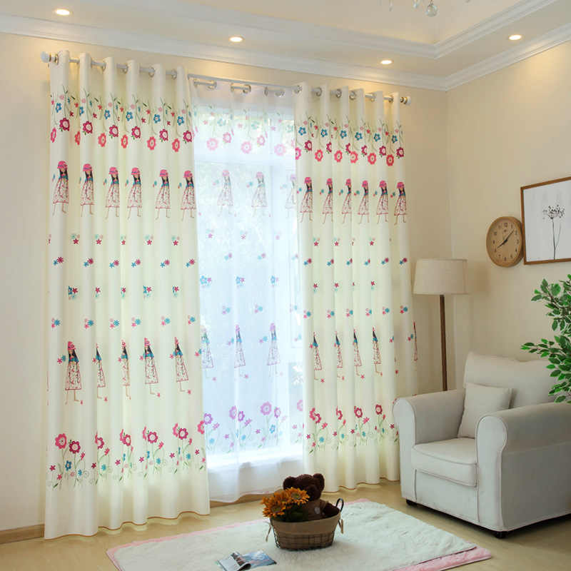Cute Princess Printed Curtains for Girl Room Polyester Cotton Nursery Modern Simple French Window Cortinas WP049C