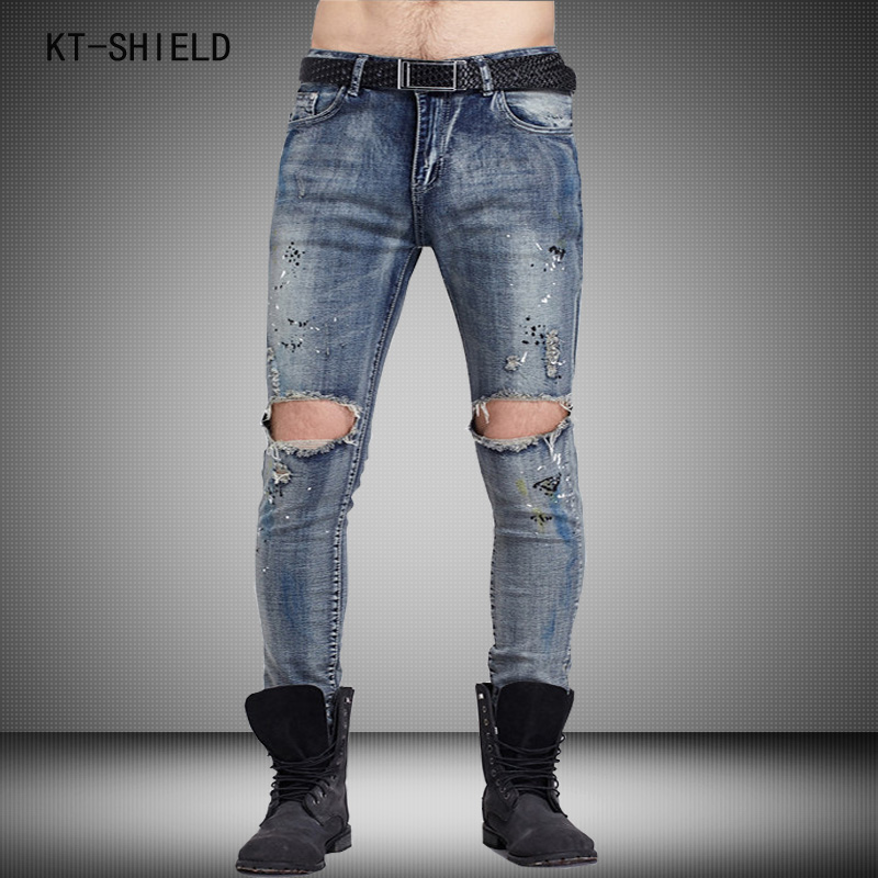 Men Runway Biker Oil Printed Jeans Classic Mens Fashion Brand ripped jeans High Quality Skinny Patchwork Denim joggers pants manОдежда и ак�е��уары<br><br><br>Aliexpress