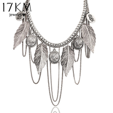 17KM New Design hot Fashion Charm Vintage choker necklace Round coin Rose Leaf Tassel Chain necklaces statement for women