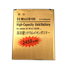 New 2450mAh i8190 Gold Replacement Rechargeable Battery For Samsung Galaxy S3 Mini GT-i8190 i8190 ACE II 2 I8160 + Tracking Cord