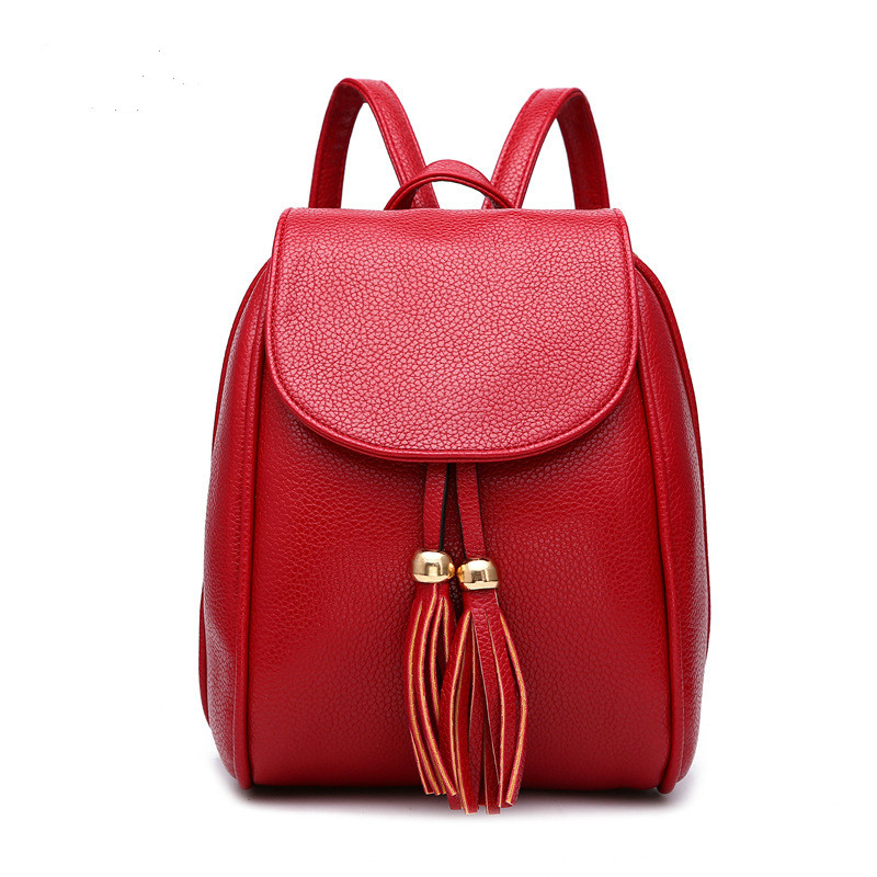 High Quality PU Leather Women Backpack Tassel Hasp and Zipper Lady OL Small Size Rucksack Preppy Style School Bag for Teenager<br><br>Aliexpress