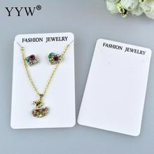 YYW 100pcs/lot Wholesale Necklace Display Card Card White Colored Earrings Display Card Accept Rectangle Display Cards