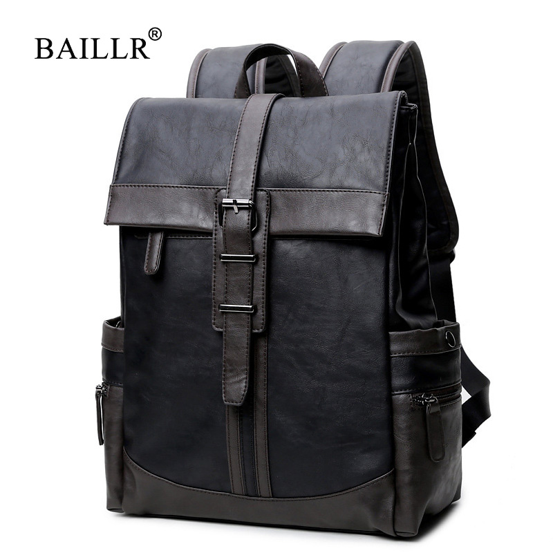 Mens Backpack Casual Men Daypacks pu Fashion Travel Backpacks mochila Simple Patchwork Large Capacity Mens Leather Backpack   <br>