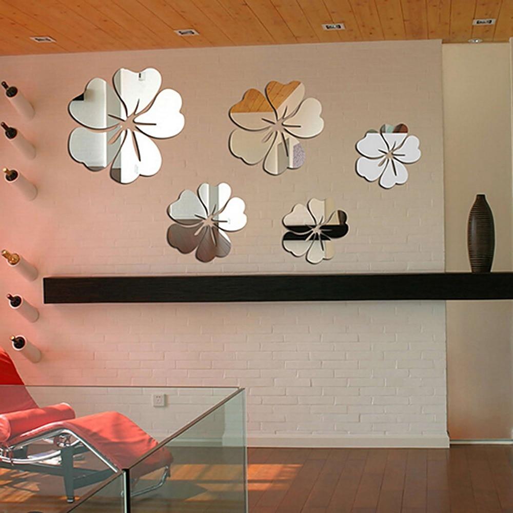 Garwarm 3D Modern Silver Flower Creative Decorative Acrylic Frameless Mirror Wall Art Sticker Mural Home Office Living Room<br><br>Aliexpress