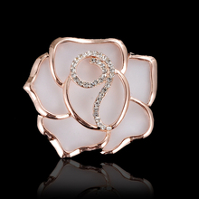 Factory Outlet Cheap Top Quality Fashion Rose Brooches for Woman The Best Present Rose Gold -Color Brooch Pins XZ-007