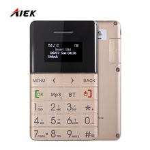"Hot Sale AIEK/Qmart Q5 1.0"" Mobile Phone for Children Ultra-thin Card Phone Pedometer FM Audio Player Bluetooth PK AIEK C6 M5 E1"