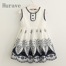 Hurave Fashion children style 2017 Baby Girls Lace Cotton Sleeveless Dresses, Princess Kids Elegant Dress