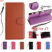 LELOZI Cheap High Quality PU Leather Wallet Phone Case caso capa shell Cover Bag Cove For Sony Xperia Xpera Experia Z3 Black(China)