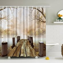 Shower Curtain Fabric Creative Print Waterproof & Antibacterial Bathroom Curtain with 12Hooks (Brown)(China)