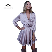 Bella Philosophy autumn winter sexy satin ruffle bow V-Neck solid sleepwear evening party soft dresses