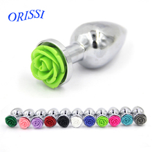 Buy ORISSI Rose Flower Anal Plug Stainless Steel Butt Plug Sex Toys Women Men Gay Anal Sex Product Metal Ass Plug