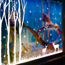 Creative christmas decorations for home Christmas Forest Snow Wall Sticker Window Bedroom Store Decoration wall stickers adesivo(China)