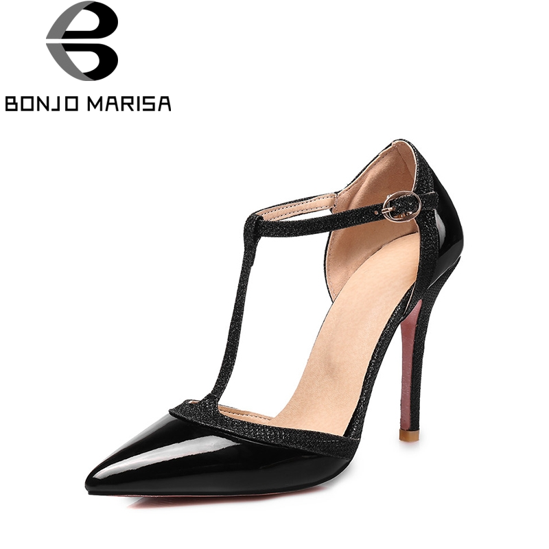 BONJOMARISA Womens Summer Sexy High Heel Pointed Toe T-strap Party Wedding Shoes Woman Less Platform Pumps Big Size 31-47<br>