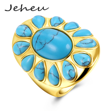 Sun Flower Ring for Women Fashion Big Turquoise Stone Gold Color Jewelry US size 6,7,8,9