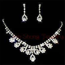Classic Bride Jewelry Sets Crystal Rhinestone Statement Necklace & Earrings Bride Acessory Women Jewelry Sets