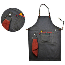 2017 Senior Denim cowboy BBQ Apron Bib Leather Straps Kitchen Apron for Women Men Barber cooking Restaurant Waitress Print Logo(China)