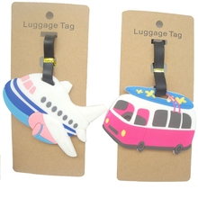 Travel Accessories Luggage Tag Cartoon Aircraft Car Silica Gel Suitcase ID Address Holder Baggage Boarding Tag Portable Label(China)