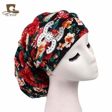 New vintage cotton floral Dreadlocks Braids Cap comfortable slouchy baggy hat chemo cap Bandana Hair Loss Bonnet Tube