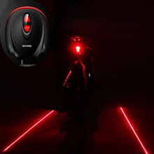 2017 Hot Bicycle 5 LED 2Laser Cycling Bike light 7 Flash Mode MTB Safety Rear Lamp waterproof Laser Tail Warning Lamp Flashing(China)
