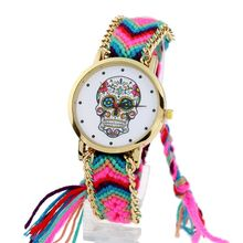 Gnova platinum Watch Women vintage Mexican Catrina Style Skull Fashion wristwatch Lace Golden Braided Chain Reloj(China)