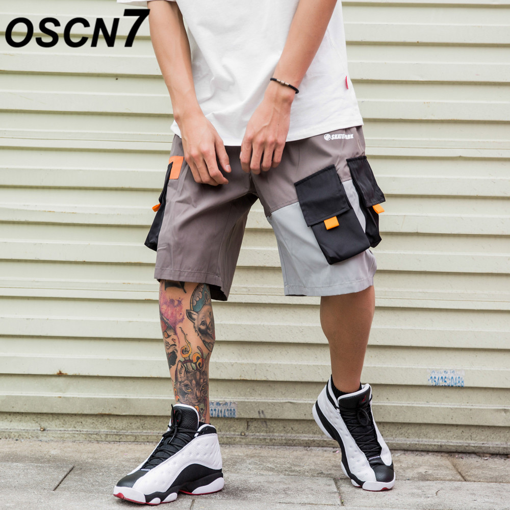 OSCN7 Casual Hip Hop Streetwear Print Loose Cargo Shorts Men 2019 Summer Fashion High Street Bermuda Short Pants Men 1909