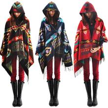 Stylish Women Boho ethnic printed Hoodie Cape Poncho Acrylic Wool Shawl Scarf Fashion Girls Sweater Fringe Hooded Wraps(China)