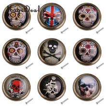 MagiDeal Furniture Handles Retro Skull Print Wardrobe Cabinet Door Cupboard Drawer Pull Handle Knob Home Decoration