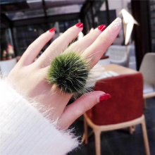 Fashion Fluffy Mink Fur Ball Pompom Ring Boho Genuine Soft Leather Party Rings for women Adjustable Size Gift 6C0207(China)