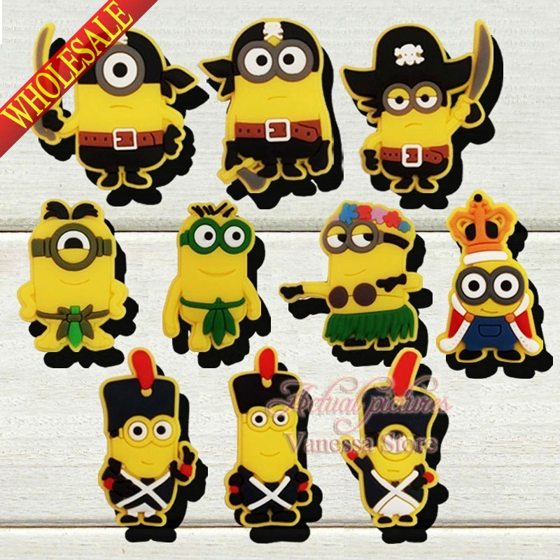 20PCS Minions Despicable me 2 shoe decoration/shoe charms/shoe accessories fit shoe with holes &amp; bands Kids party gift!<br><br>Aliexpress
