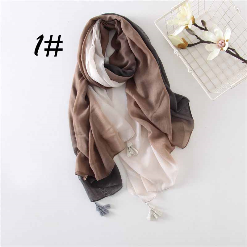 Plain Gradient Womens Scarves Soft Cotton Ladies Scarf Fashion Design Stripes Spring and Autumn Wrap for Women dy-J99