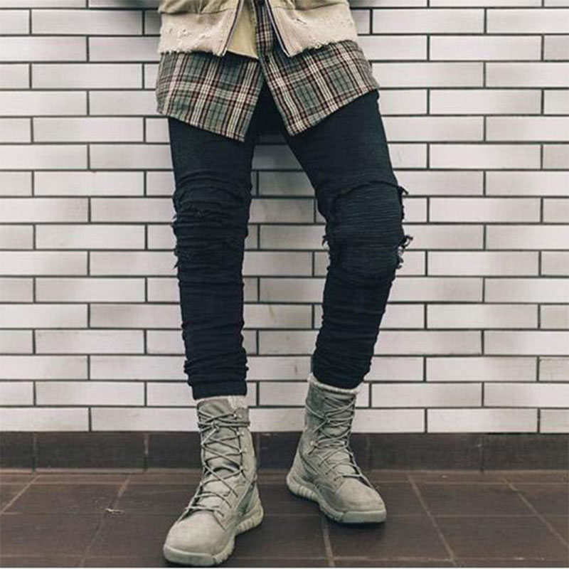Fashion Mens European Jeans Skinny White and Black Hip Hop Designer Ripped Biker Jeans For MaleОдежда и ак�е��уары<br><br><br>Aliexpress