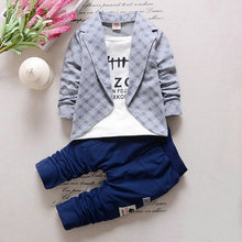 2PC Toddler Baby Boys Clothes Outfit Boy Kids Wedding Party Suits Outfits Sets Grid False 2 pieces Set Boy Style Children(China)