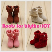 Free shipping for blyth doll icy winter boots brown white pink red shoes lady cute 1/6