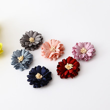 DIY artificial stamen Flowers WITHOUT CLIPS Satin Ribbon Flowers Sew Multilayers Flowers For Girls Hair(China)