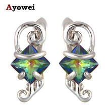 Gorgeous Mystic Crystal Luxury Design Clip Earrings for Women Silver Fliied Super Supplier AAA Zircon fashion Jewelry JE1078A