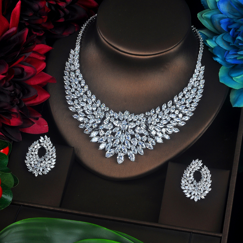 HIBRIDE Sparkling Marquise Cut Cubic Zirconia Big Full Jewelry Sets Women Bride Necklace Set Dress Accessories Party Show N-340