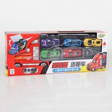 2017 New Kids Educational Toys Simulation Container Truck +12pcs Racing Car Model Toys for Kids Birthday Present Toys new(China)
