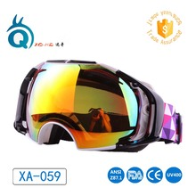 2017 Best Quality XA059 Popular Mirror Lens Snowboard Winter Ski Sports Goggles Ok design very big size lens skiing goggles